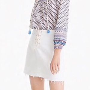 J.Crew NEW White Denim Nautical Jeans Skirt 30""
